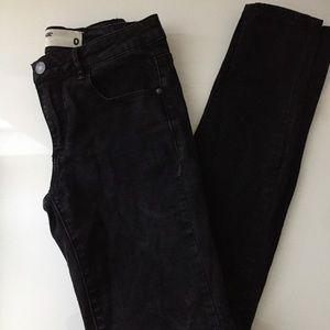 Garage High-Waisted Black Acid Wash Jeans